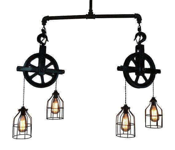 Plafonnier éclairage Poulie Industrial Light Par WestNinthVintage