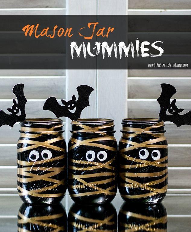 Halloween Craft: Mason Jar Mummies