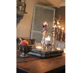 Skjønn lysestake i antikk sølv, velg i 3 størrelse