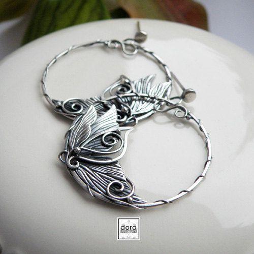 Fairy wings Silver hoops earrings handmade by DORAbluedesign