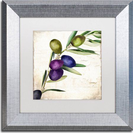 Trademark Fine Art Olive Branch Iii Canvas Art by Color Bakery, White Matte, Silver Frame, Size: 11 x 11, Assorted