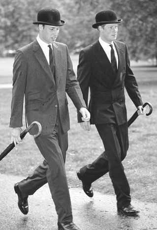 "Princes William & Harry/••••This is the fabulous Humprey Bogart walk. It wasn't choreographed but looks like it was. Just the natural ""in step together"" of siblings."