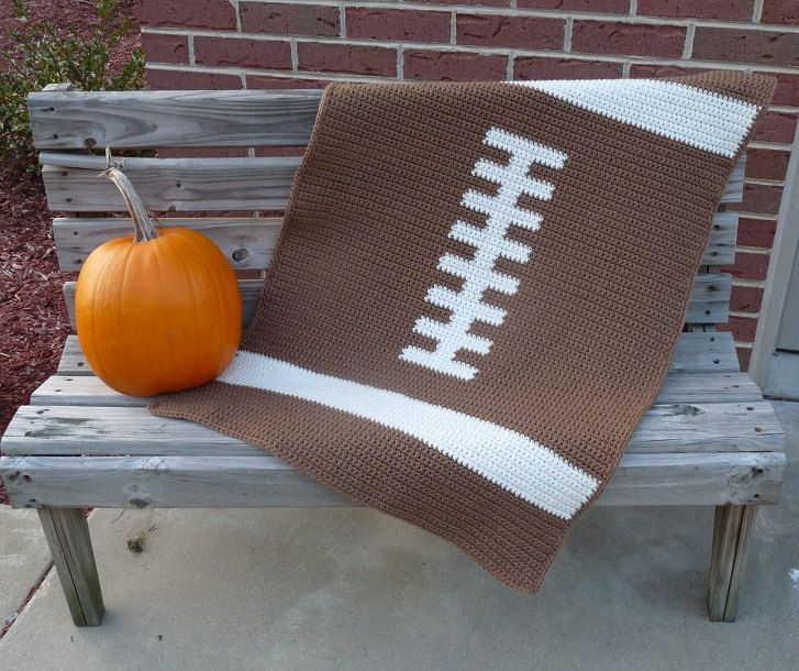 Football Baby Blanket  - CROCHET PATTERN. $4.00, via Etsy.