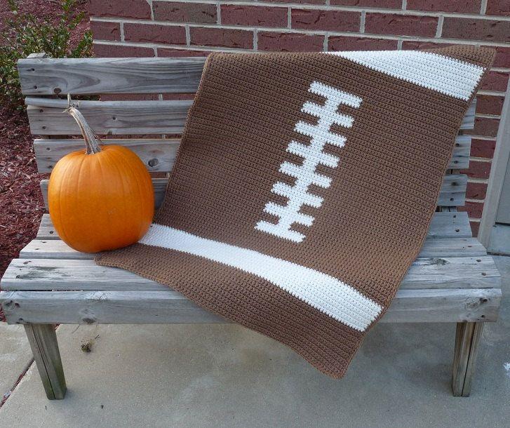 Football Baby Blanket  - CROCHET PATTERN. $4.00, via Etsy.