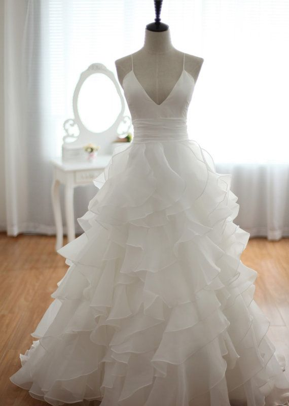 Custom Cheap A line Princess Ivory Organza V neck Backless Sexy Wedding Dresses 2016 Gowns with Long Train, Bridal Dresses Gowns