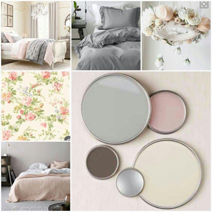 Palett med grått beige/kräm och rosa. Rosa överkast. Gråa sängkläder. Krämfärgade väggar. Romantisk blommig tapet. Enstaka kontraster med blå sekretär, gul fåtölj.