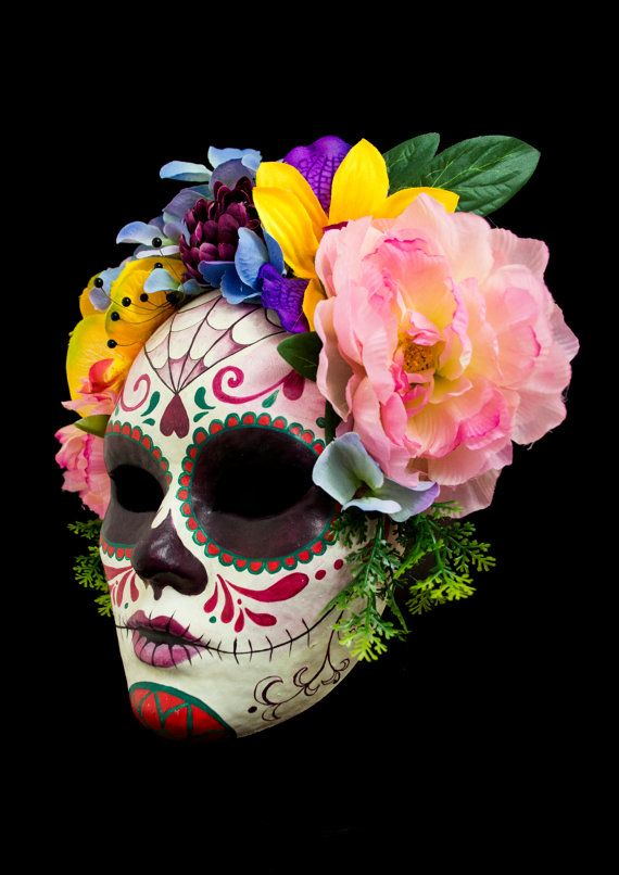 Catrina mask paper mache mask Valentine Day mexican by NoirMasks
