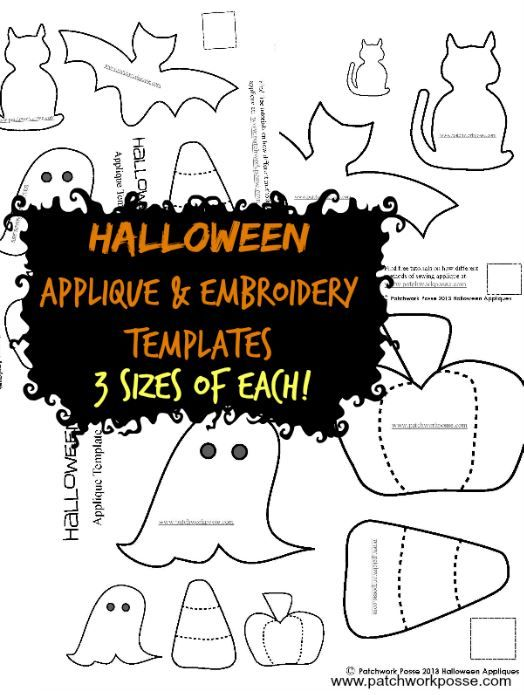 halloween applique  in 3 sizes | patchworkposse #halloween #applique #embroidery