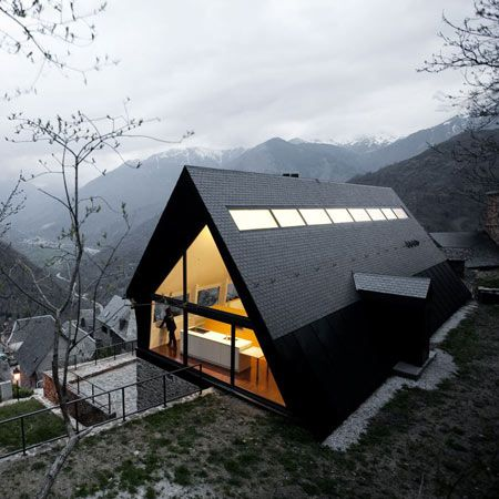 Architects Cadaval & Solà-Morales added this steeply-pitched roof to an old dry stone construction in the Spanish Pyrenees to form two homes. #Architecture