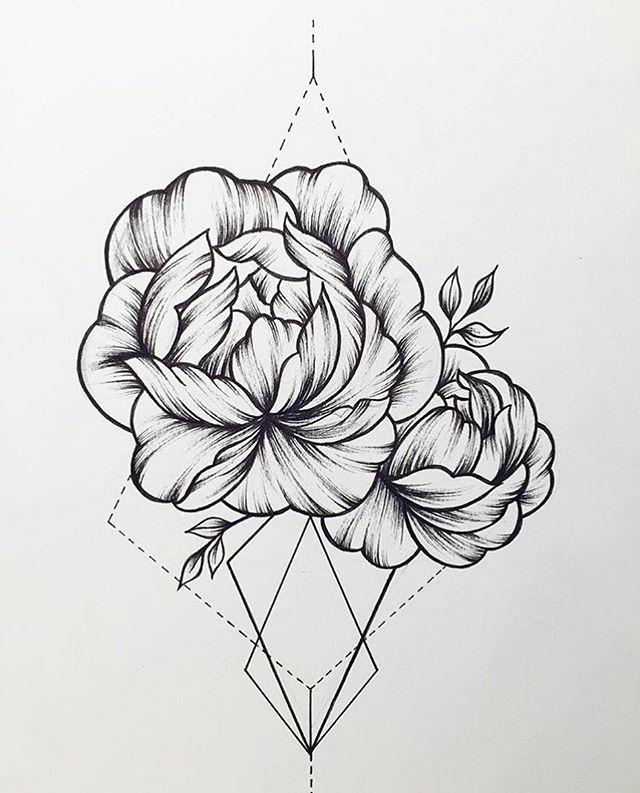 Peonies Tattoo Design More Dessins De Fleurs Pour Tatouage Dessin Crayon De Couleur Tatouage