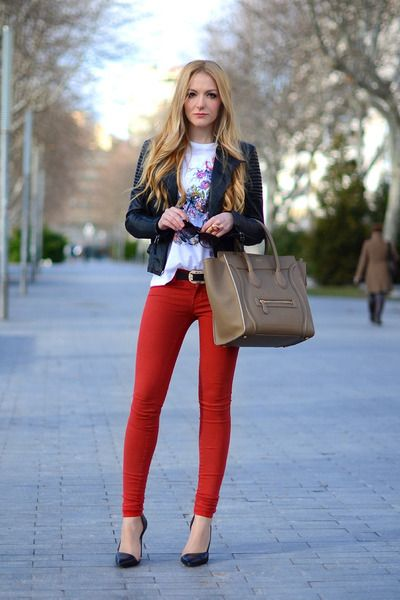 25  best ideas about Red skinny pants on Pinterest | Skinny cargo ...