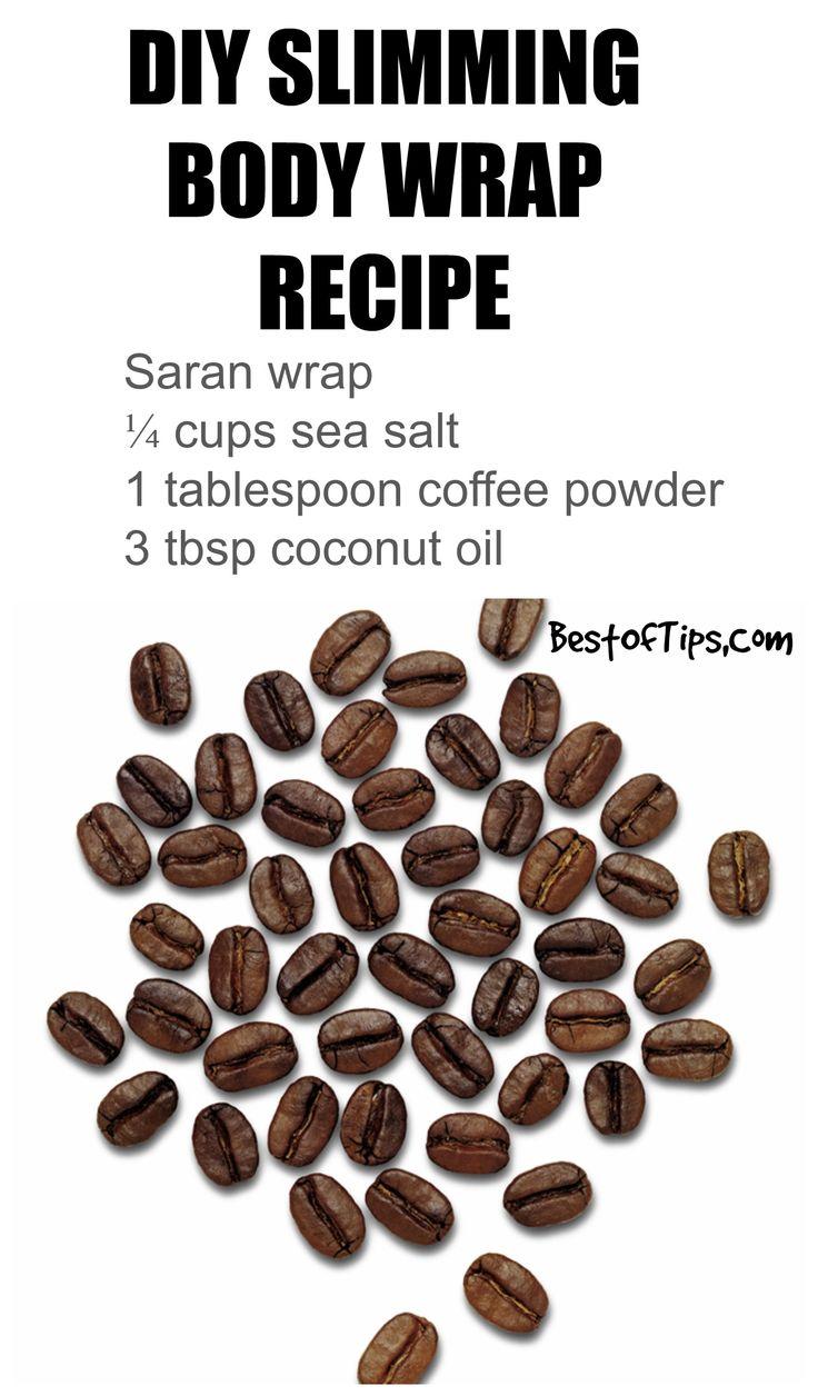 Diy body wrap /// saran wrap, ground coffee, sea salt, coconut oil