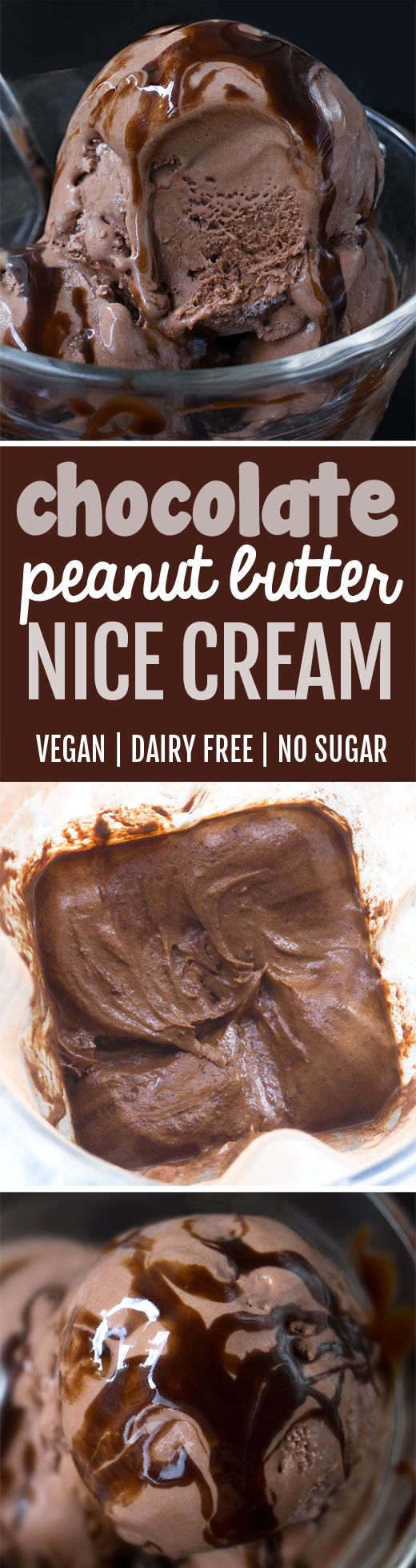 Chocolate Peanut Butter Nice Cream, so thick and creamy!