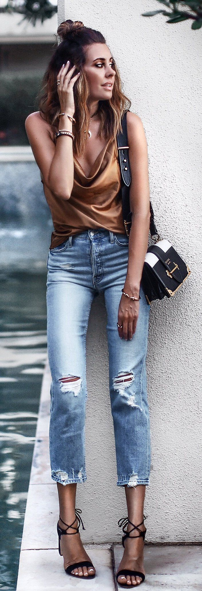 #summer #outfits  Burnt Silk Tank + Ripped Jeans + Black Sandals