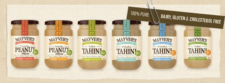 Mayver's Peanut and Tahini Spreads Product Range, 100% Pure-State, Dairy, Gluten and Cholesterol Free.