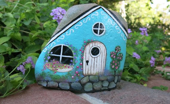 Painted rock fairy Garden Cottage rock miniature by MyPaintedSwan