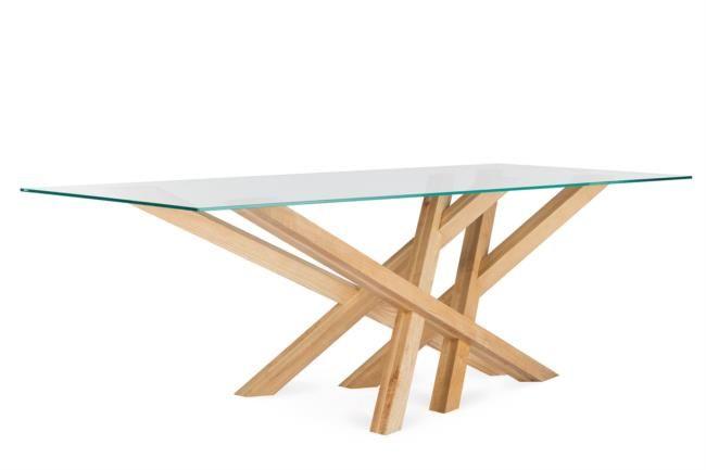 Tavolo fisso in legno e vetro di design