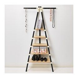 IKEA PS 2014 Corner Wall shelf with 11 knobs - store necklaces on top and shoes on the shelves #storage #closet #shoestorage