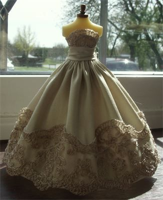 SOLD : 1/12th scale wedding gown.