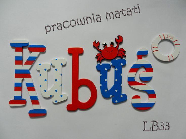 kubuś, kuba, imię dziecka, drewniane literki, literki na ścianę, pokój dziecka, pokój dziecięcy, pokój chłopca, matati
