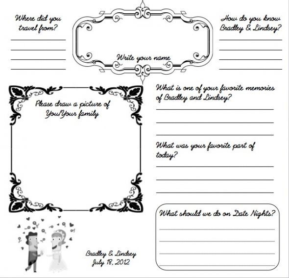 34 best DYI Printable Wedding Guest Book Alternative Templates - guest card template