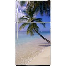 Perfect Palm Magnetic Bottom Freezer Refrigerator Covers | Palm Tree Magnet Skins, Covers and Panels are single magnetic sheets that cover Fridge Appliances | SALES DISCOUNT NOW! | Beautiful Palm Trees Appliance Art