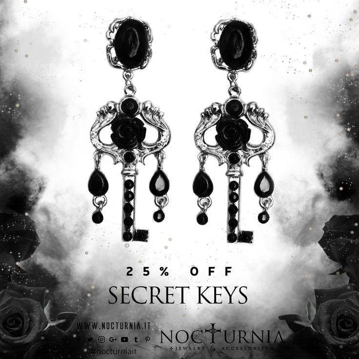 "Black Summer Sale don't stop! Find ""SECRET KEYS"" earrings are 25% OFF only on our shop. Click here http://bit.ly/secretkeysearrings Worldwide Shipping #nocturniait #blacksummersale"
