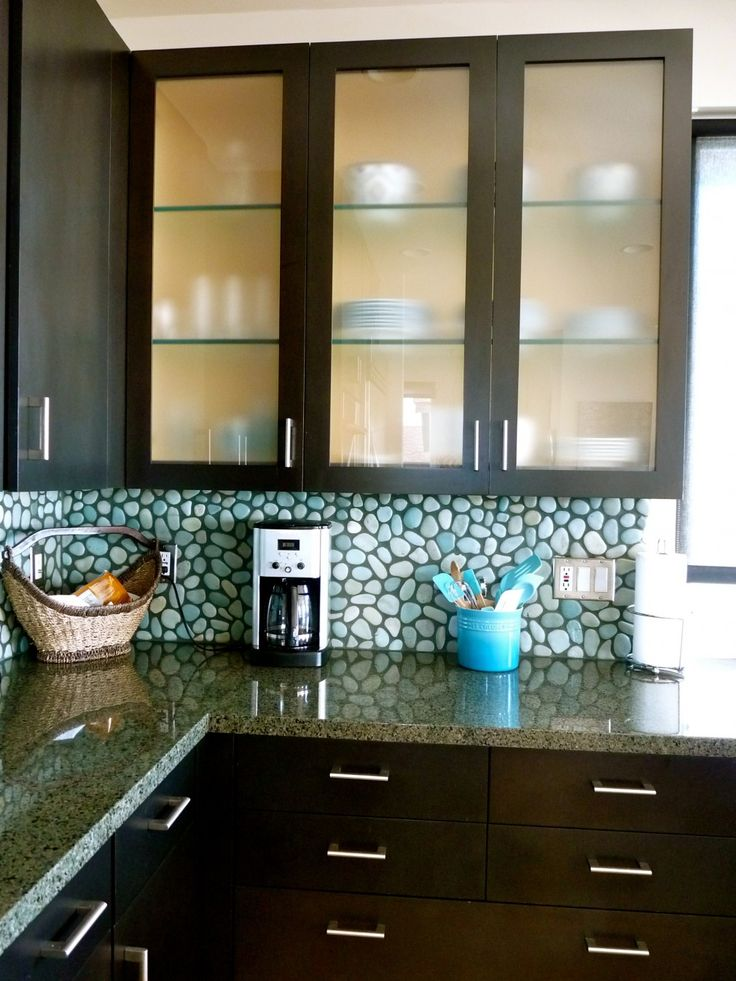 Frosted Glass Kitchen Cabinet Doors Granite Counter Top Brown Wooden Storage
