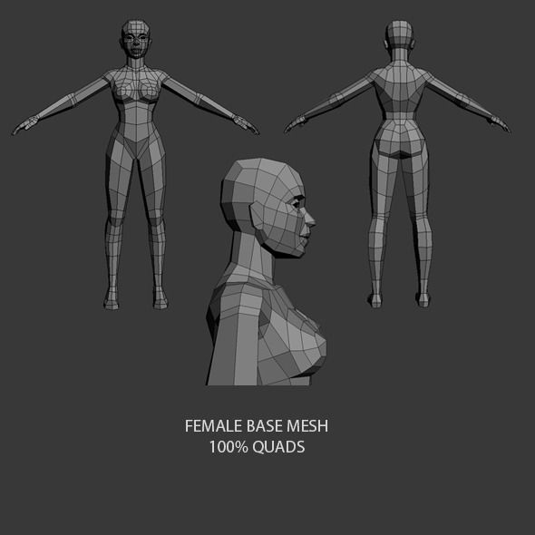 3DOcean Low Poly Female Base Mesh 7681899