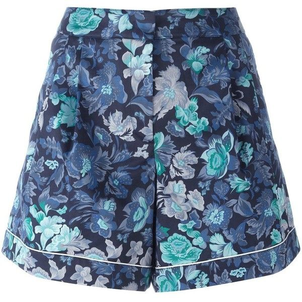 Burberry floral print shorts (25.575 RUB) ❤ liked on Polyvore featuring shorts, blue, floral pattern shorts, burberry, flower print shorts, burberry shorts and blue floral shorts
