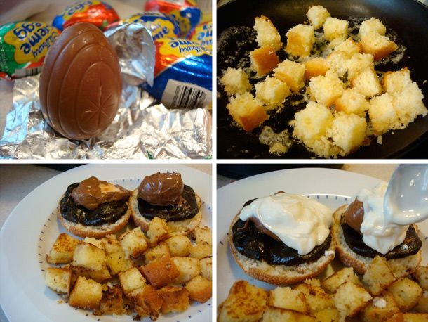 I don't think I've ever seen another plate of food that would be less healthy.    Why do I want it so much!!  Cadbury Creme Eggs Benedict!!: Cream Eggs, 20100301Cremebenedicthow Jpg, Cadbury Eggs, Egg Benedict, Creme Eggs, Cadbury Cream, Breakfast Recipes, Eggs Benedict, Cadbury Creme