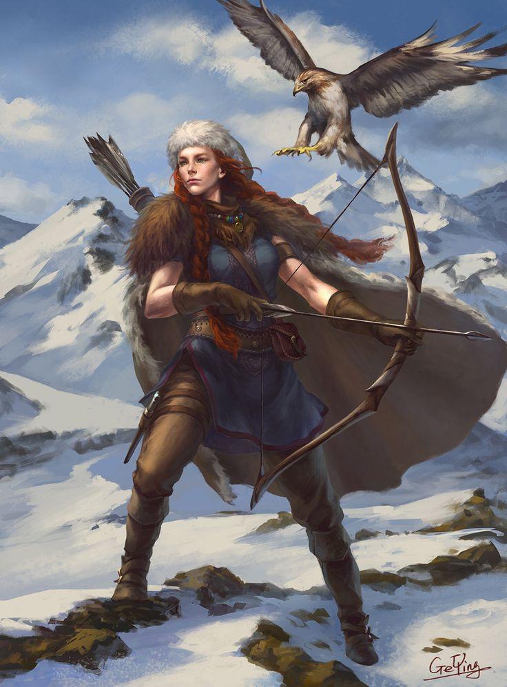 The Northern Huntress, Ge Ying on ArtStation at https://www.artstation.com/artwork/the-northern-huntress