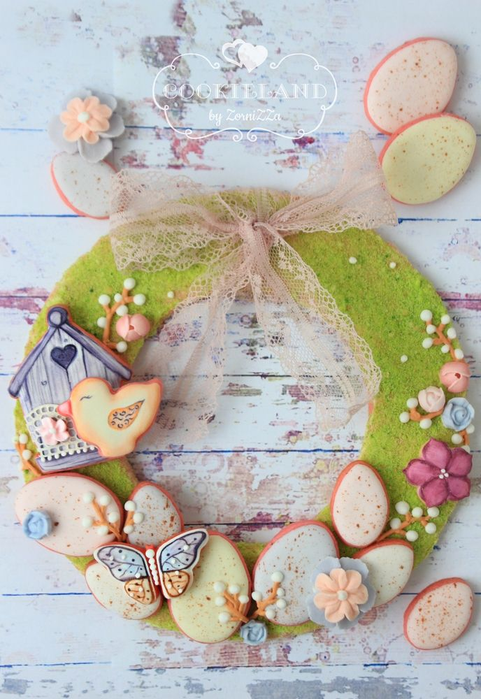 Easter cookie wreath