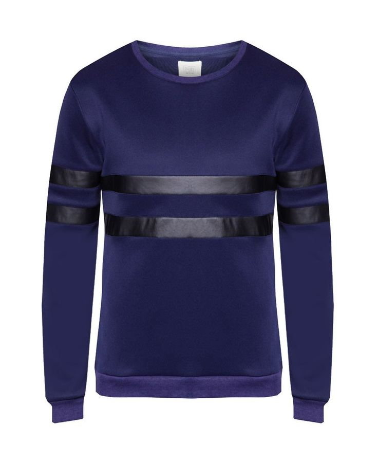 W-Scuba Sweatshirt With PU Insert, a collection by 24:01.Navy blue sweatshirt with apu leather accent, this cool sweatshirt made of polyester material, round neck, long sleeves, ribbed cuffs, perfect for street style.   http://www.zocko.com/z/JHhS7