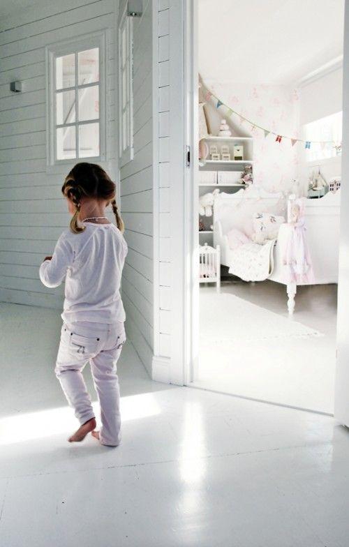 girl's room: Interiors Window, Little Girls, Girls Bedrooms, White Rooms, Bedrooms Kids, White Wall, Girls Rooms, White Floorboards, Kids Rooms