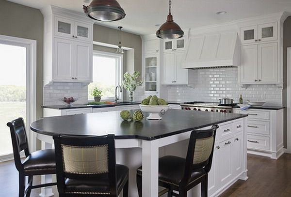 50 Beautiful Kitchen Design Ideas for You Own Kitchen - like the round end of the island - could have coffee and see each other rather than being in a straight line