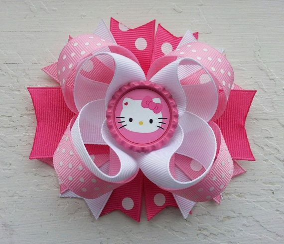 Pink Hello Kitty Inspired Hair Bow -Hello Kitty Birthday Hair Bow on Etsy, $10.00