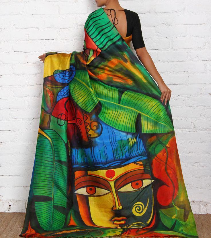 Multicoloured Hand Painted Pure Silk Saree