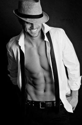 Dudeoir - Dudoir - Male Boudoir - Photography - Hat - Smile - Black and White - Portrait - Editorial - Pose Idea