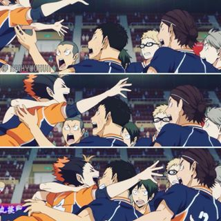 LOL THEY ARE ALL SO CUTE WELL THEIR FACES ARE FUNNY #haikyuu omg this scene I cried so much it's so adorable
