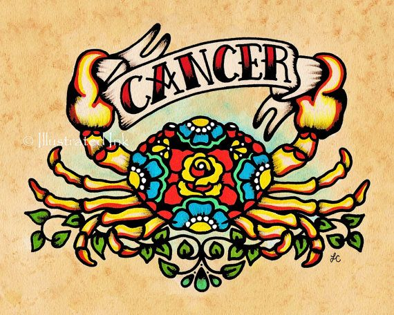 Cancer is part of my new Signs of the Zodiac series! Inspired by my interest in Astrology and old school tattoo design. Cancer is a water sign, for those born from June 22nd - July 23rd. The symbol of the crab is based on the Karkinos, a giant crab that harassed Hercules during his fight with the Hydra. This art print would make for a fun birthday gift or keep it for yourself! Im happy to ship directly to your gift recipient and include a gift message from you (just leave me a note in the…