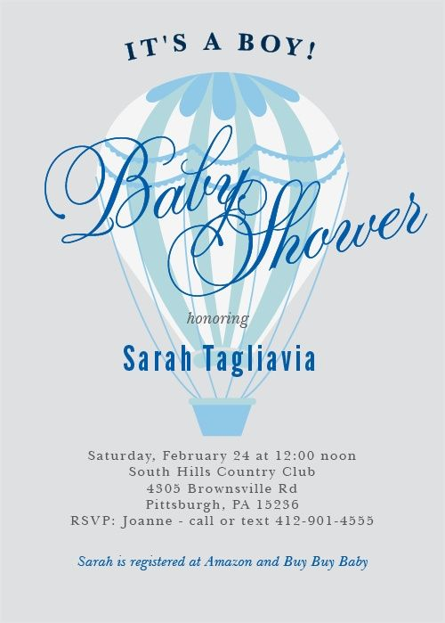 Invite friends and family for a grand adventure with the Hot Air Balloon Boy Baby Shower Invitations.