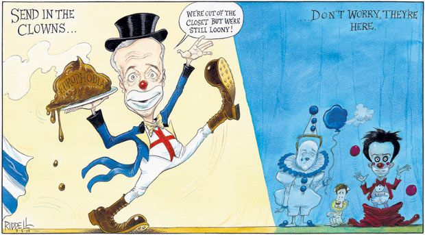 5 May 2013 - Riddell has also drawn Farage as a clown, but this time so are the other three party leaders. Farage carries a plate of 'europhobe' and is wearing an English cross on his chest.