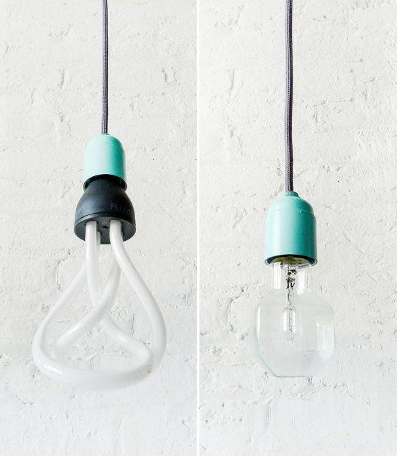 Modern Retro Lighting Textile Pendant - Pastel Mint Blue Hardware - Plumen OR Halogen Square Light Bulb - Dark Grey Color Cloth Cord on Etsy, $165.00