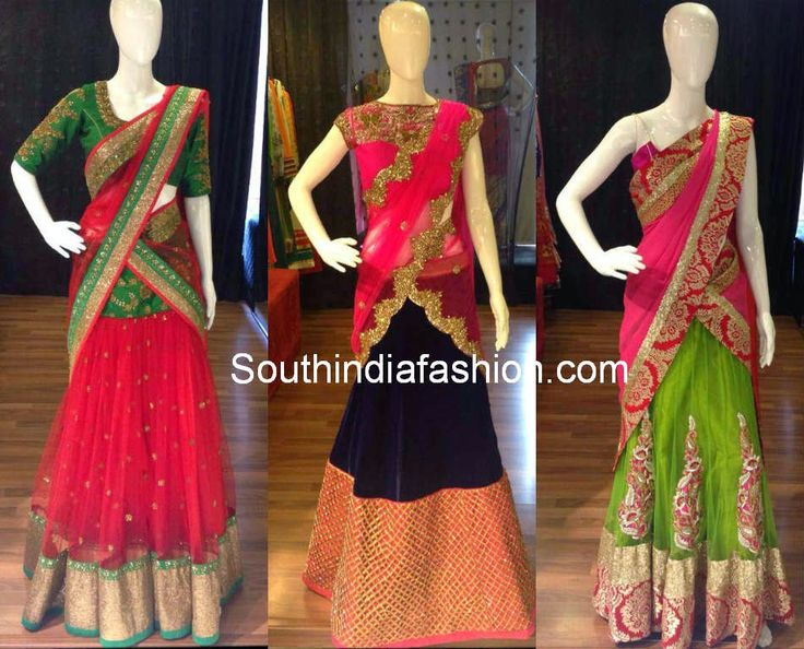 Beautiful Designer Half Sarees ~ Celebrity Sarees, Designer Sarees, Bridal Sarees, Latest Blouse Designs 2014