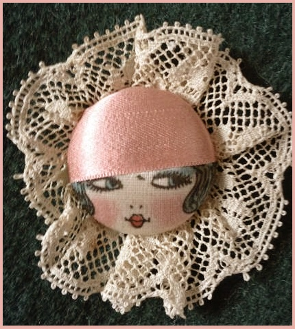 Beautiful vintage flapper girl button/ WOULD MAKE A NICE VALEMTINE BUTTON; MAGNET BOARD MAGNET