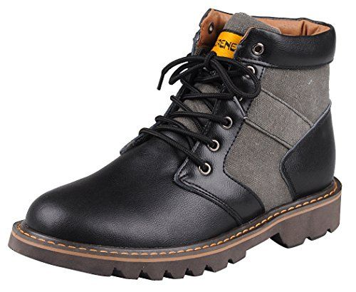Serene Christmas Mens Fashion Cowboy Leather Canvas Lace Up Work Boots(9.5 D(M)US, 036Black) #MensClothes #Mens #MensFashion #Fittery #FashionIdeasForMen