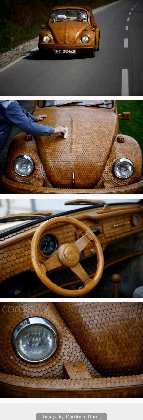 REAL WOODY: A wooden Volkswagen Beetle car is seen in Celinac near Banja Luka April 2, 2014. Bosnian pensioner Momir Bojic,71, an avid Volkswagen fan, created the car from over 50,000 separate pieces of oak and took two years to complete it.