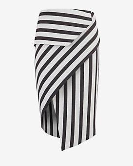 mason by michelle mason Asymmetric Wrap Stripe Skirt