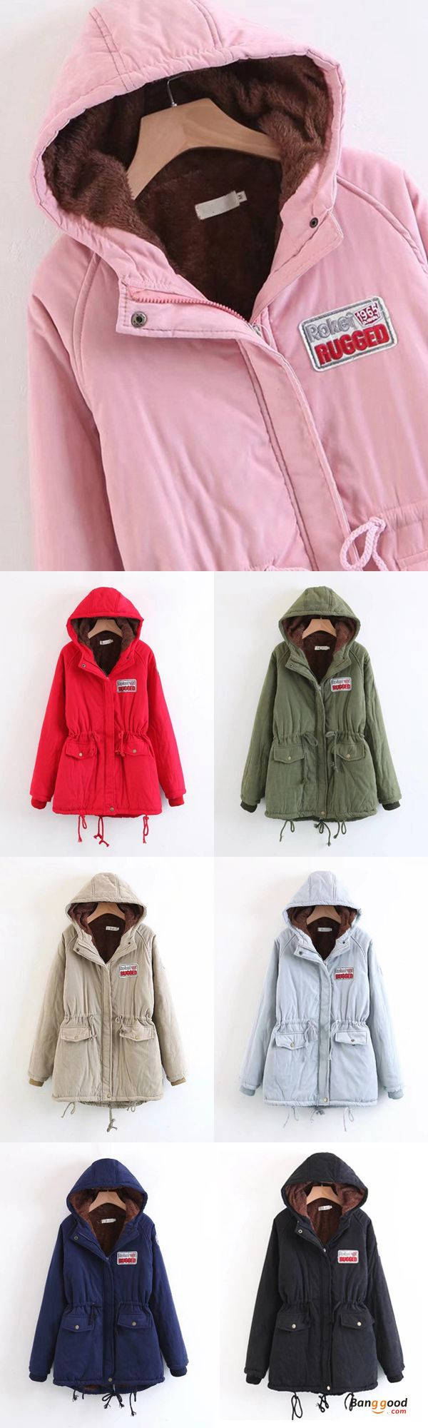 US$56.99 + Free shipping. Size: S~2XL. Color: Army Green, Black, Gray, Khaki, Navy, Pink, Red. Fall in love with casual and cute style! Casual Loose Women Pockets Zipper Fleece Plus Long Sleeve Hooded Coats.